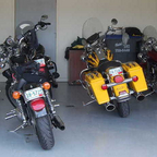 "The ""girls"" steeds corraled in my garage after a days ride."