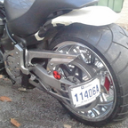 a lot of chrome , super big rear wheel, 1700cc, many torke and power
