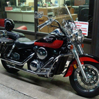 hypercharger, Vance and hines str8 shots, twisted 4 inch risers, huge saddlebags since the pic