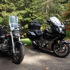 Honda Valkyrie and BMW K1600 GTL--had to clean them up today and get ready for the road!