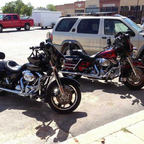 Parked outside of St. Jo, Texas at a waterin\' hole.  Cooling off for a bit, it was August and HOT!