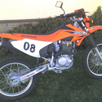 This is my 4-stroke dirt bike.  It was a little too heavy to ride trails so I put it on the street.