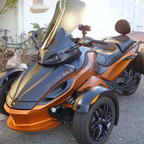 My Can-Am Spyder with custom Corbin saddle for two people and custom Givi side bags.
