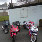 outside the pitstop diner at Arrochar for an all day breakfast.....