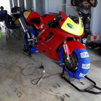My 01 F4i track bike in the pits at Homestead she may be old but shes still quick.
