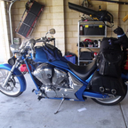 all loaded up ready to head off on black dog ride to alice springs