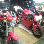 both my bikes together my 916 and the old monster 620Sie
