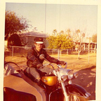 "17 year old me, with one of my old ""Pans"" and a 1947 steel bodied side hack .... I rode this thing all ..."
