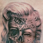 Marilyn Monroe before and after death tat on my ribs.  17 hours under the gun.
