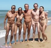 Nudist friends on nude beach
